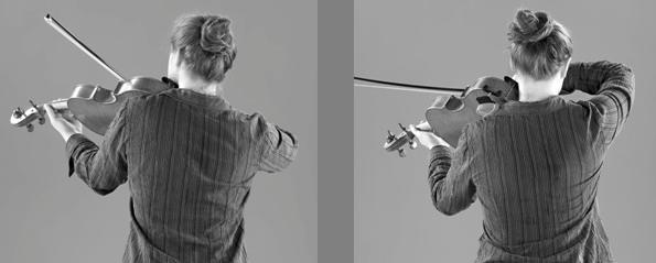Violist Sheila Browne demonstrates unbalanced use of the shoulders. (c) Gerald Klickstein